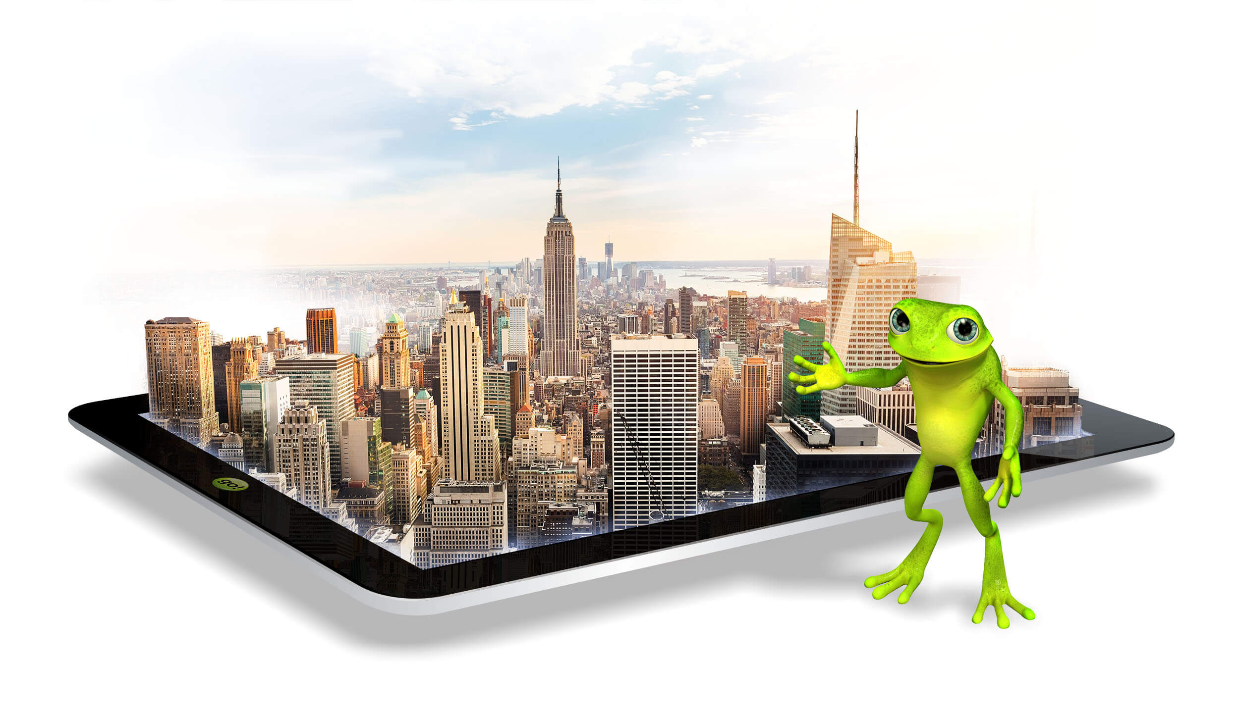 eZanga the trusted online marketing firm: eZanga's mascot Jimmy Hoppa pointing at New York city skyline at sunrise